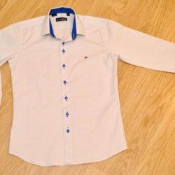 Стильная брендовая белая школьная рубашка с длинным рукавом для мальчика Hilfiger, 6-15 лет