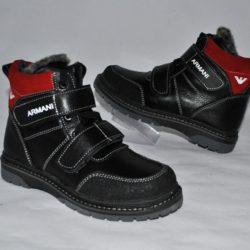 Модные стильные брендовые зимние кожаные ботинки Armani на липучке  для мальчика 35 размер 36 размер 37 размер 38 размер 39 размер