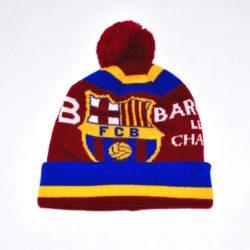 Модная стильная зимняя вязаная шапка ФК Барселона FC  Barcelona для мальчика 8-14 лет. Шерсть и акрил. Турция, отличное качество!