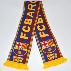 Модный  стильный  зимний вязаный шарф ФК Барселона FC  Barcelona для мальчика 8-14 лет. Шерсть и акрил. Турция, отличное качество!
