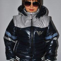Стильная модная демисезонная куртка-трансформер Armani для мальчика 6 лет 7 лет 8 лет 9 лет 10 лет 11 лет 12 лет 13 лет 14 лет. Капюшон и рукава отстёгиваются.