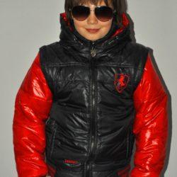 Модная стильная брендовая демисезонная куртка-трансформер Ferrari  для мальчика 6 лет 7 лет 8 лет 9 лет 10 лет 11 лет 12 лет 13 лет 14 лет. Капюшон и рукава отстёгиваются.