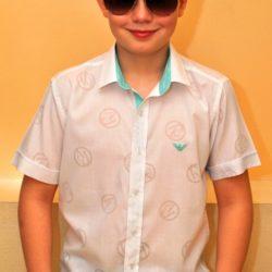 Стильная брендовая белая рубашка Armani с коротким рукавом на мальчика 10-15 лет. Турция, хлопок, отличное качество!