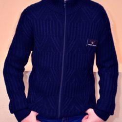 Модная стильная брендовая синяя кофта Armani  на змейке для мальчиков 10-14 лет. Турция, шерсть+акрил.