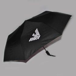 Стильный брендовый чёрный зонт-полуавтомат Armani. Отличное качество!