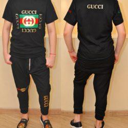 Трендовый  стильный летний костюм футболка и бриджи Gucci  на мальчика 10-15 лет