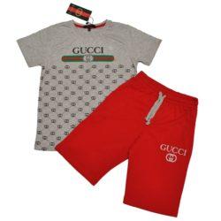 Модный брендовый летний костюм шорты и футболка Gucci для мальчиков 8 лет 9 лет 10 лет 11 лет 12 лет. Турция, хлопок