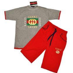 Трендовый костюм Gucci футболка и шорты для мальчиков 10 лет 11 лет 12 лет 13 лет 14 лет 15 лет. Турция, хлопок