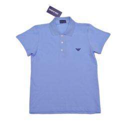 Стильное брендовое голубое поло Armani с коротким рукавом для мальчиков 6 лет 7 лет 8 лет 9 лет 10 лет 11 лет 12 лет 13 лет 14 лет 15 лет. Турция, хлопок.