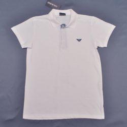 Стильное брендовое белое поло Armani с коротким рукавом для мальчиков 6 лет 7 лет 8 лет 9 лет 10 лет 11 лет 12 лет 13 лет 14 лет 15 лет. Турция, хлопок
