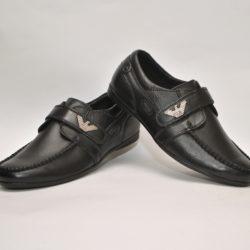 Стильные брендовые чёрные кожаные школьные туфли Armani на липучке для мальчика 31 размер 32 размер 33 размер 34 размер 35 размер 36 размер