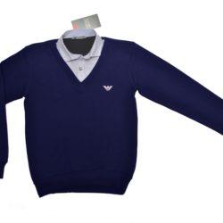 Стильная брендовая  школьная рубашка с жилетом обманка Armani для мальчиков 9 лет 10 лет 11 лет 12 лет 13 лет 14 лет. Турция, хлопок, отличное качество!