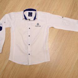 Стильная белая школьная рубашка с длинным рукавом Philipp Plein для мальчиков 9 лет 10 лет 11 лет 12 лет 13 лет 14 лет. Турция, хлопок, отличное качество!