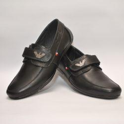 Стильные брендовые чёрные кожаные школьные туфли Armani на липучке для мальчика 32 размер 33 размер 34 размер 35 размер 36 размер 37 размер 38 размер 39 размер