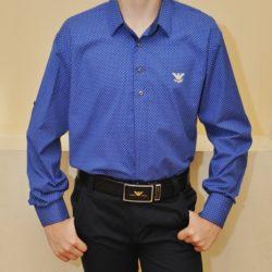 Синяя  школьная рубашка Armani для мальчиков 8-14 лет, рукав-трансформер. Турция, хлопок, отличное качество