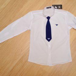 Белая школьная рубашка Armani с галстуком  и длинным рукавом для мальчиков 10 лет 11 лет 12 лет 13 лет 14 лет. Турция, хлопок.  Рукав трансформируется, галстук отстёгивается