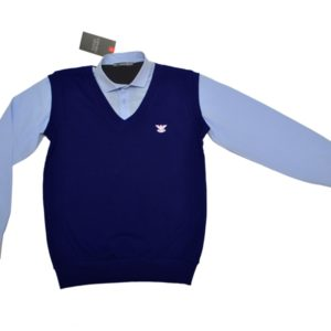 Стильная брендовая  школьная рубашка с жилетом обманка Armani для мальчика 9-14 лет