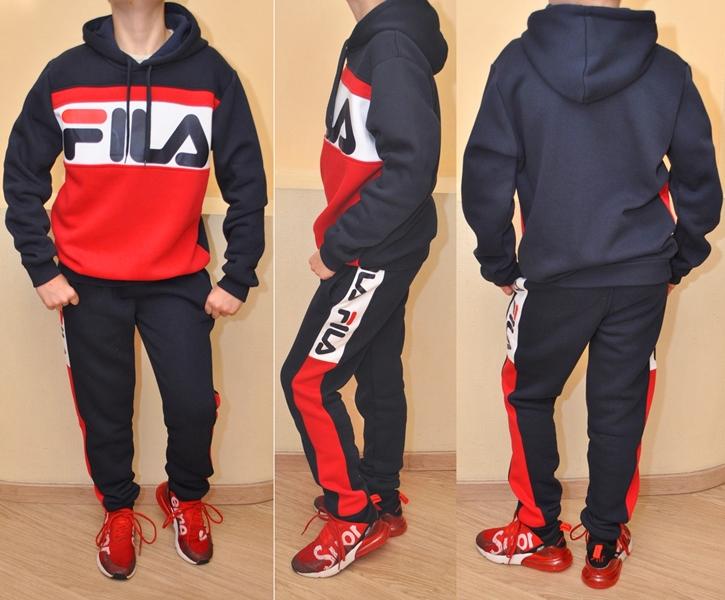 7a35012c Модный утеплённый спортивный костюм FILA на флисе для мальчиков 8 лет 9 лет  10 лет 11