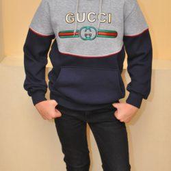 Утеплённая  худи кофта с капюшоном кенгурушка Gucci на флисе для мальчиков 9 лет 10 лет 11 лет 12 лет. Турция