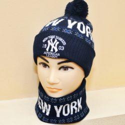 Модный стильный комплект шапка и бафф New York для мальчиков 8 лет 9 лет 10 лет 11 лет 12 лет 13 лет 14 лет