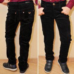 Стильные брендовые утеплённые чёрные вельветовые джинсы Armani на мальчика 10 лет 11 лет 12 лет 13 лет 14 лет на флисе
