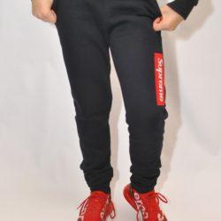 Стильные утеплённые чёрные  спортивные штаны Supreme  на флисе для мальчиков 9 лет 10 лет 11 лет 12 лет 13 лет 14 лет