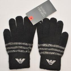 Стильные чёрные  детские перчатки Armani для мальчика 8 лет 9 лет 10 лет 11 лет 12 лет 13 лет . Шерсть+акрил, Турция