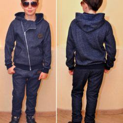 Модный стильный брендовый утеплённый спортивный костюм D&G на флисе для мальчиков 7 лет 8 лет 9 лет 10 лет 11 лет 12 лет 13 лет 14 лет