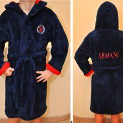 Стильный брендовый махровый халат Armani для мальчиков 8 лет 9 лет 10 лет 11 лет 12 лет. Турция, хлопок.