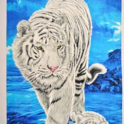 Брендовое махровое полотенце Armani с тигром  140*70см . Турция , хлопок