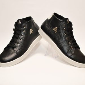 Стильные демисезонные подростковые  мужские кожаные высокие кроссовки  Philipp Plein 40 размер 41 размер 42 размер 43 размер 44 размер 45 размер. Натуральная кожа
