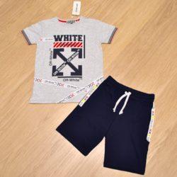 Модный  летний костюм шорты и футболка Off-White для мальчиков 9 лет 10 лет 11 лет 12 лет. Турция, хлопок, отличное качество