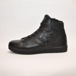 Стильные зимние кожаные ботинки Philipp Plein 40-45 размер. Верх-натуральная кожа, утеплитель-нат.мех, мягкие, тёплые. Подошва толстая, супинатор