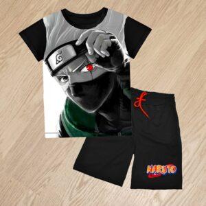 Летний костюм футболка и шорты Какаши Какаси для мальчиков 6 лет 7 лет 8 лет 9 лет 10 лет 11 лет 12 лет 13 лет 14 лет