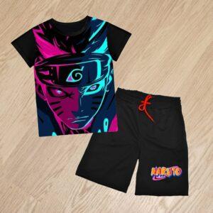 Летний костюм футболка и шорты Наруто неон для мальчиков 6 лет 7 лет 8 лет 9 лет 10 лет 11 лет 12 лет 13 лет 14 лет