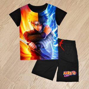 Летний костюм футболка и шорты Саске и Наруто для мальчиков 6 лет 7 лет 8 лет 9 лет 10 лет 11 лет 12 лет 13 лет 14 лет